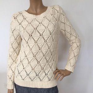 Tommy Hilfiger Cotton Popcorn Crochet Sweater L